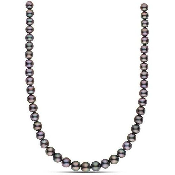 8.4-10.8 mm AA+ Round Tahitian Pearl Necklace ($2,400) ❤ liked on Polyvore featuring jewelry, necklaces, tahitian pearl jewelry, knot necklaces, strand necklace, round necklace and tahitian pearl necklace