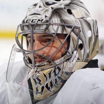 Goaltender Marc-Andre Fleury #29 of the Pittsburgh Penguins smiles prior to the game against the Colorado Avalanche at the Pepsi Center on April 06, 2014 in Denver, Colorado. (Photo by Michael Martin/NHLI via Getty Images)