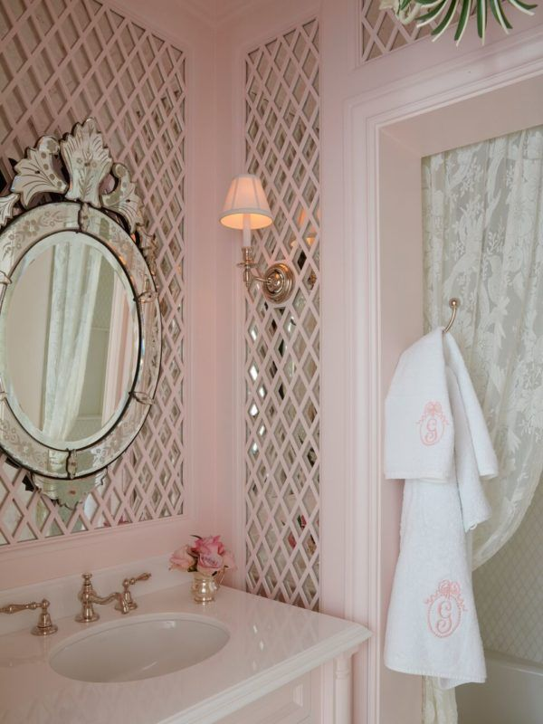 Gigi's Jewel-Box Bathroom – Bailey McCarthy Treillage bathroom mirrors walls