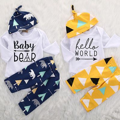 >> Click to Buy << Newborn Girl Boy Baby Bear Long Sleeve Romper Pants Leggings Hat 3pcs Kids Christmas Outfits Set #Affiliate