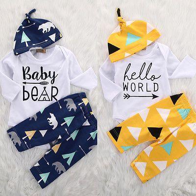 Newborn Girl Boy Baby Bear Long Sleeve Romper Pants Leggings Hat 3pcs Kids Christmas Outfits Set