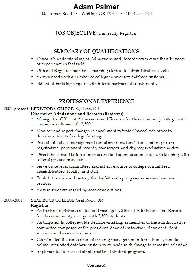 Write A Job Resume With No Work Experience -    www - associate registrar sample resume