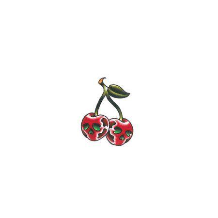 Tattify Skull Cherry Temporary Tattoo - Cherry Bomb (Set of 2)