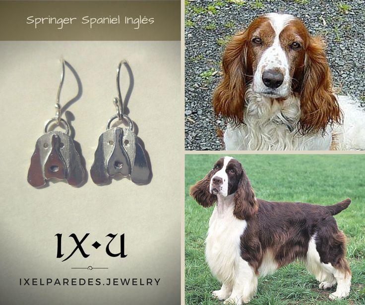 Springer Spaniel Inglés Aretes en Plata .950 Precio $150 MXN