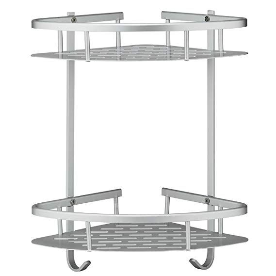 No Drilling Bathroom Corner Shelves Aluminum 2 Tier Shower Shelf Caddy Adhesive