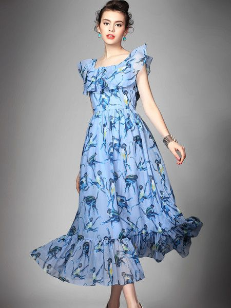 #stylewe Dyed Polyester Maxi #Dress #fashion #women's #outfits #summer #animal