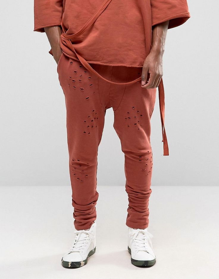 Image 1 of Granted Drop Crotch Joggers With Distressing