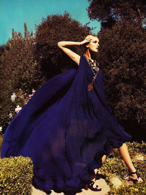 : Purple Dresses, Caroline Trentini, Cobalt Blue, New Fashion, Dark Fashion, Fashion Photography, Camilla Akran, Deep Blue, Resorts Style