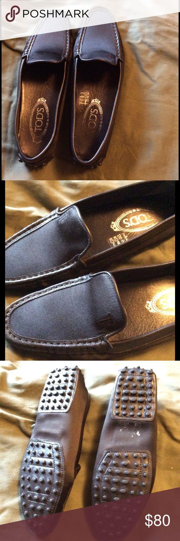 Tod's Heaven Satin Black Driving Loafers EUC Absolutely gorgeous Tod's women's Heaven Satin Black driving shoes. EUC slight rub on right shoe logo inside of shoe, light sticker residue on bottom. Tod's Shoes
