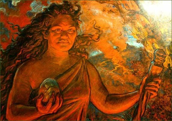 "Pele ""Goddess of Fire"" - Very well known painting on the Island -- the model for the painting was none other than Princess of Puna -- of Uncle Robert's down in Kaimu/Kalapana."