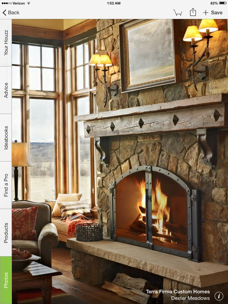 Rustic Mantle Dark Trim In 2019 Farmhouse Fireplace