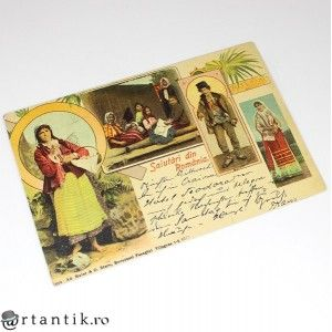 carte postala - cca 1900 - Salutari din Romania - circulata international