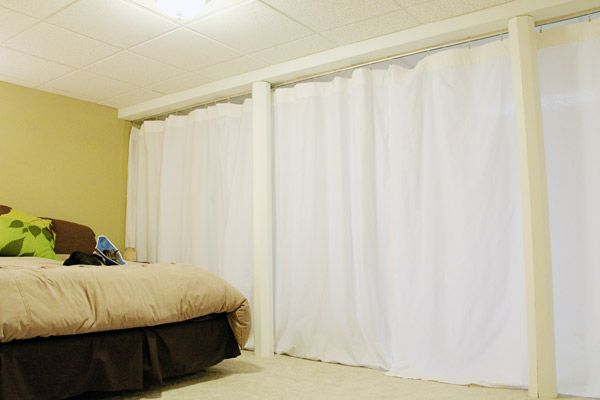 Ceiling mounted traverse rod or curtain track and then - Room divider curtain ideas ...