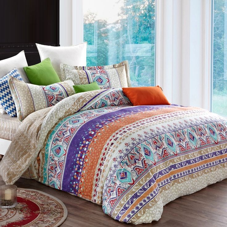 Aqua Blue Cream and Orange Bohemian Chic Indian Pattern Multi-color Stripe Print Southwestern Style Full Size Bedding Sets