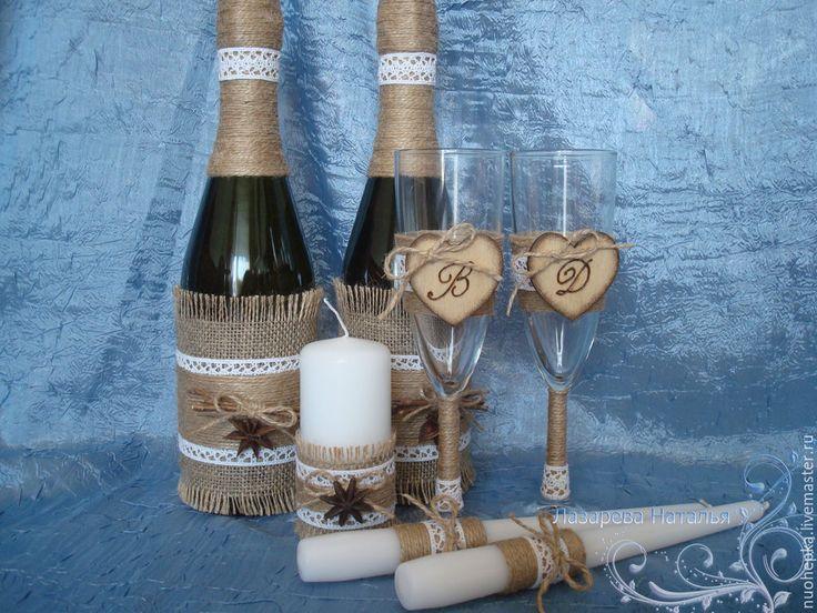 Купить Свадебные бокалы в стиле рустик - бежевый, рустик, рустикальный стиль, рустикальная свадьба, экостиль