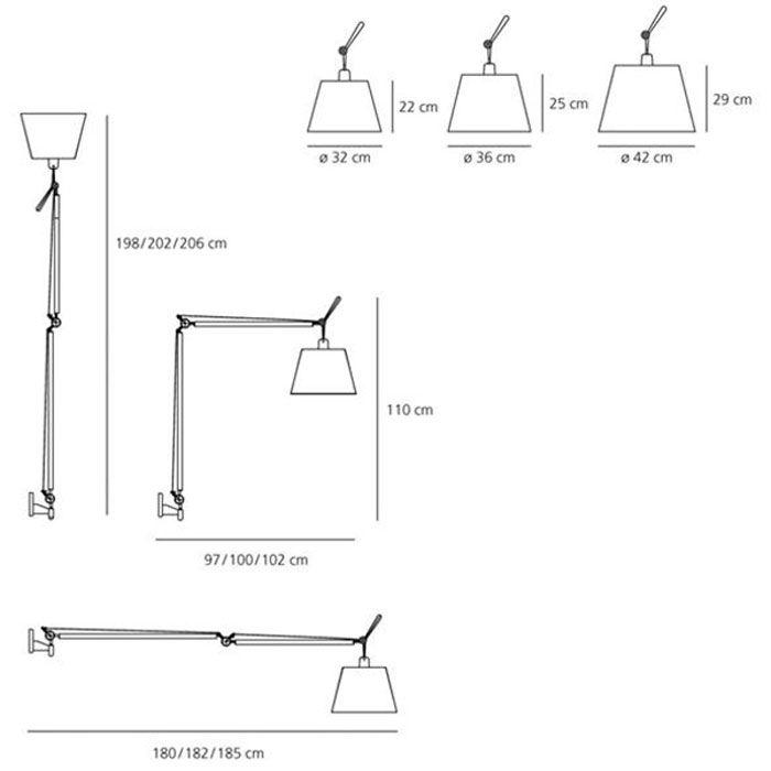 Buy the ARTEMIDE Tolomeo Mega Wall Light online at UtilityDesign.Co.Uk