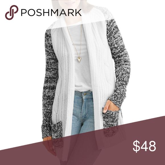 Cute cardigan Open front Full length sleeves Knit style  Ivory front and back Grey sleeves and open pockets Shawl collar Mixed stitching design  90% acrylic 10% polyester S(4-6)M(8-10) @danglina Sweaters Cardigans