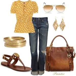 CuteFashion, Casual Outfit, Casual Friday, Polka Dots, Style, Michael Kors, Tory Burch, Spring Outfit, Bags