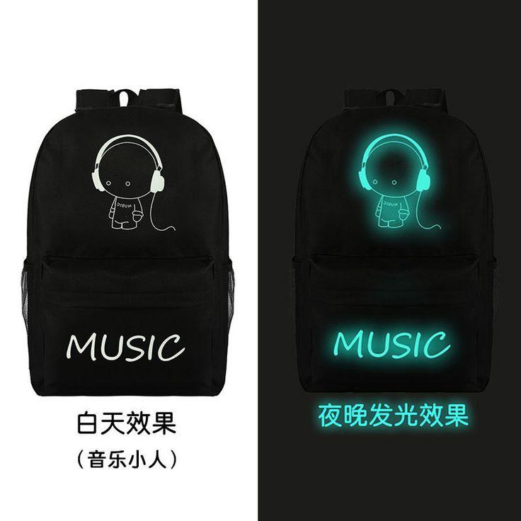 Noctilucent Canvas Chic Backpack Black School Bag
