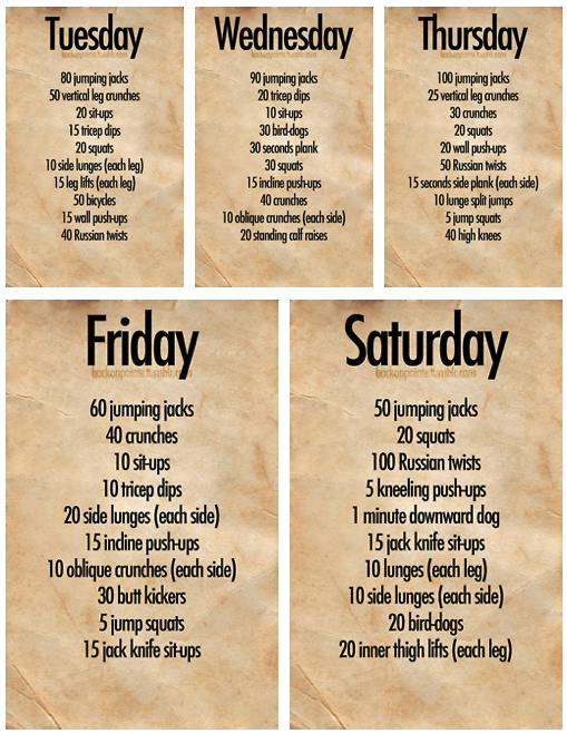 exercise routine weekly exercise routine