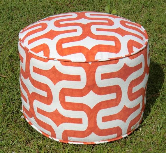Orange pouf ottoman floor pouf in 18' round ottoman by anitascasa, $90.00
