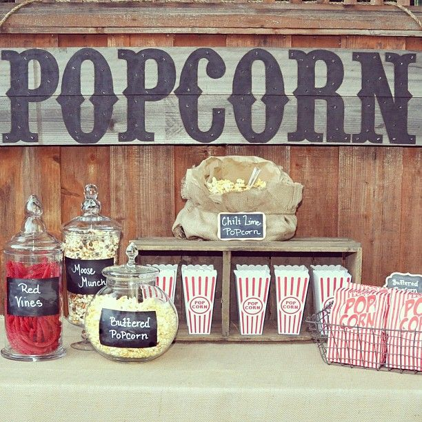 """My Popcorn Bar from last nights Outdoor Movie night Party;)"""