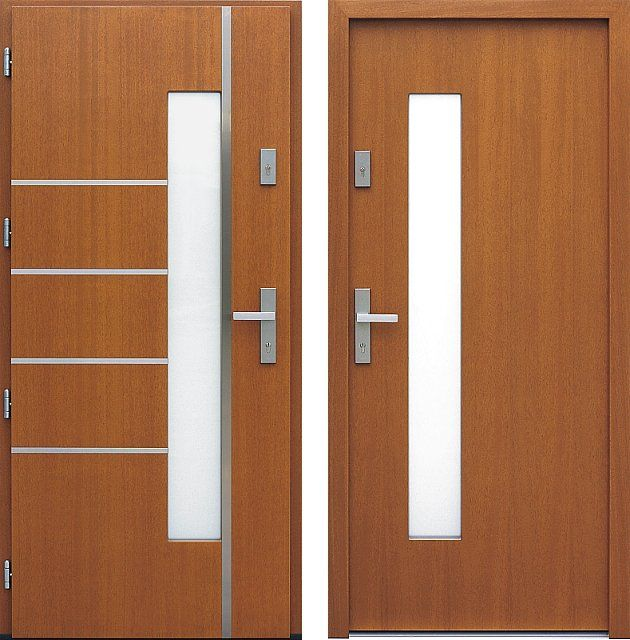 Drzwi wejściowe z aplikacjamii ze stali nierdzewnej inox wzór 428,1-428,11 ciemny dąb