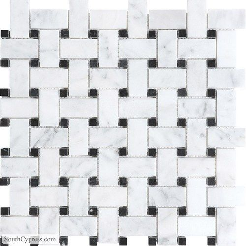 Bianco Venatino featured on the Light Marble page from South Cypress.  #black and white, #flooring, #tile, #bathroom