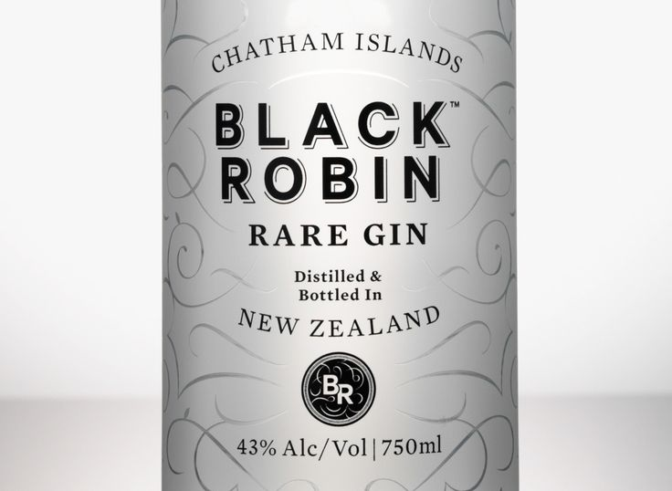 Black Robin Rare Gin, distilled and bottled in New Zealand.
