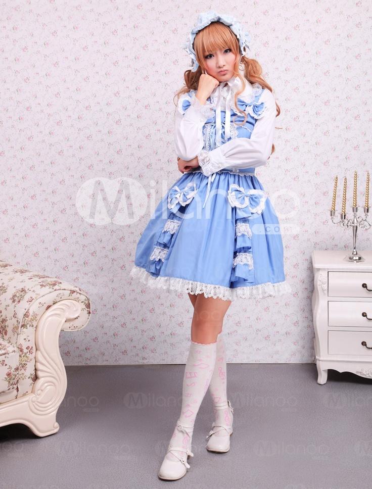 Cotton Blue Bow Sleeveless Sweet Lolita Dress - Milanoo.com