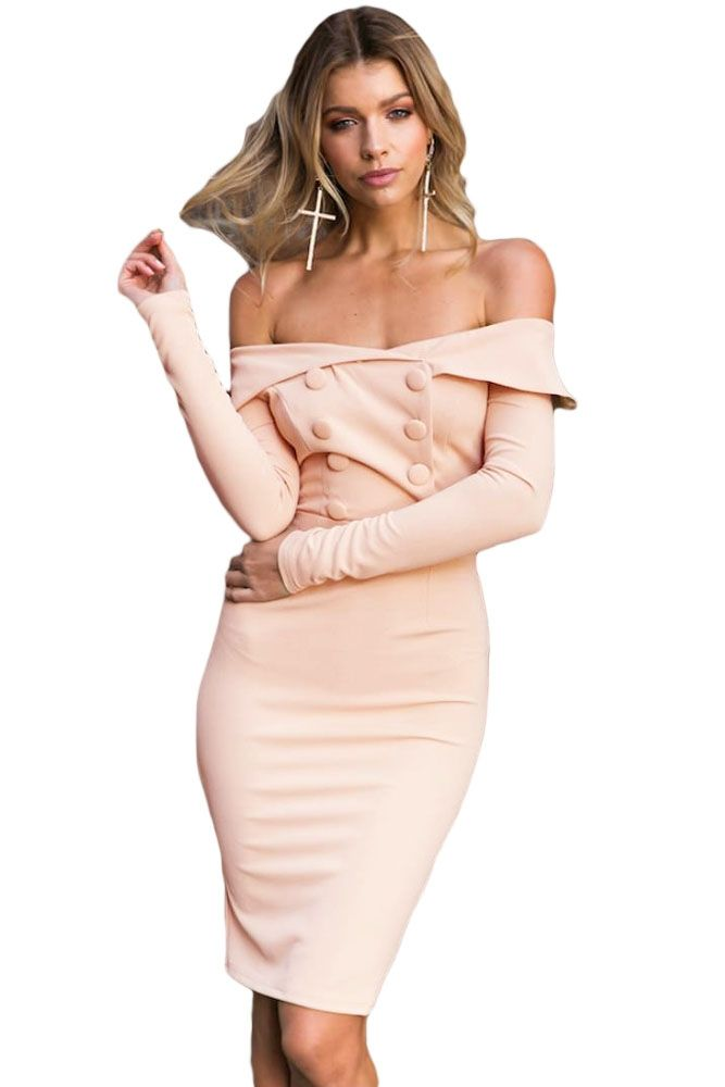 Sukienka beżowa midi odkryte ramiona w cenie 159,99 zł