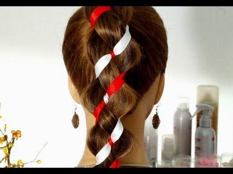 4 strand braid with 2 ribbons. Плетение косы из 4-х прядей (2+2 ленты). Плетение косы с лентами. - YouTube
