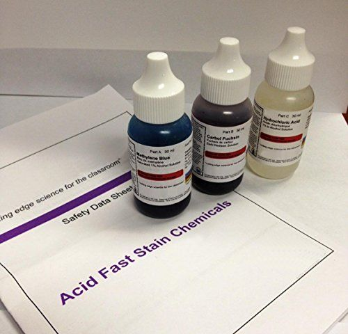 AmScope SK-3 Acid Fast Stain Kit of Three Chemicals for Preparing Microscope Bacteria Slides, 30ml Bottles and Safety… #science #microscope