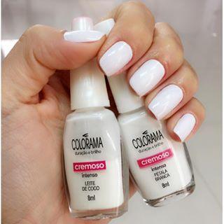 Esmaltes Colorama Cores Leite de Coco e Pétala Branca Esmalte branco