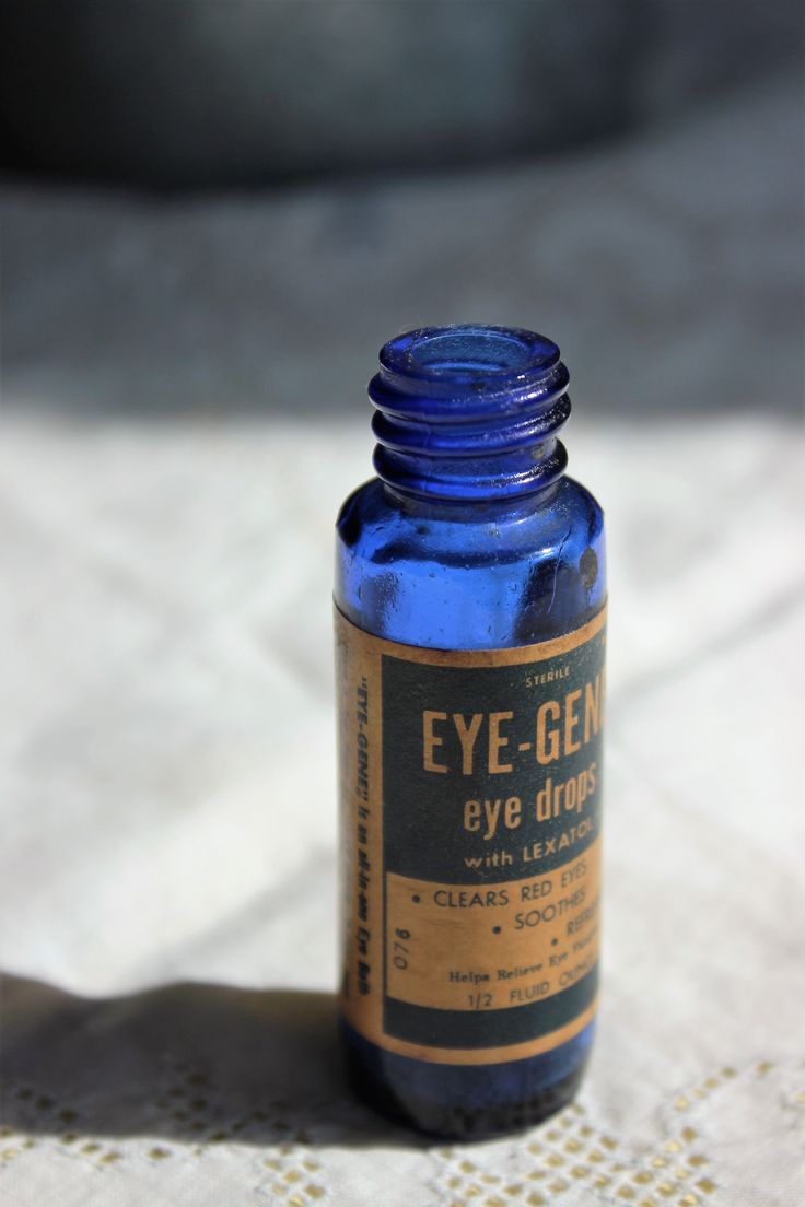 Vintage 1930s or 1940s Cobalt Blue Bottle Eye-Gene Eye Drops