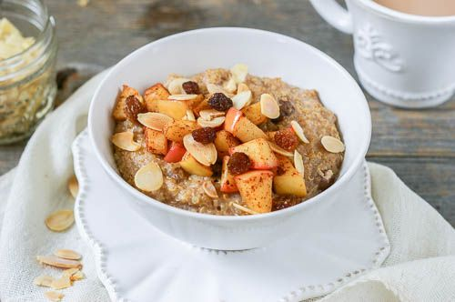This quinoa and steel cut porridge is soaked overnight and topped with sauteed apples in the morning - a fast & healthy breakfast ready in just 10 minutes!