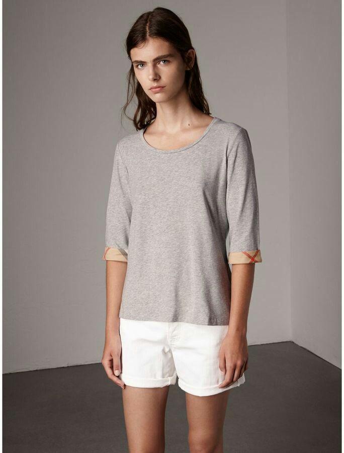 Burberry Cuff Long Sleeve Grey Sweater #classycasual #burberry #womenswear