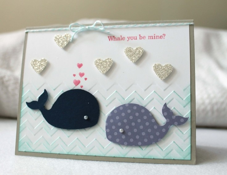 handmade Valentine ... punny sentiment: Whale you be mine ... two die cut whales, chevron embosssing, hearts out of blowhole ... cute card!