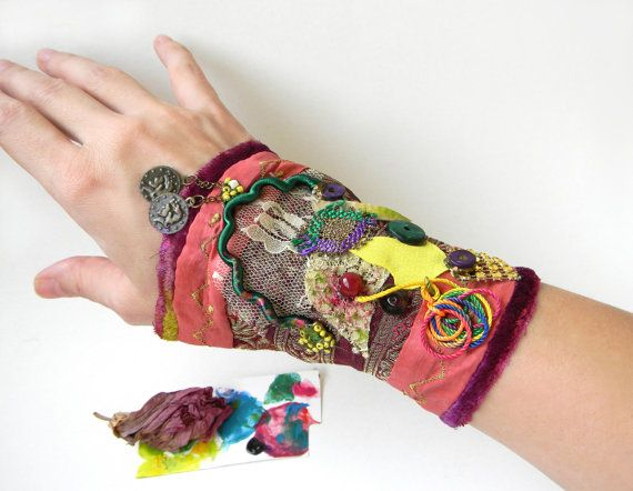 Textile art collage wrist wide cuff, Gypsy whimsical bracelet cuff, colorful folklore and Bohemian textile jewelry in pink, yellow and green