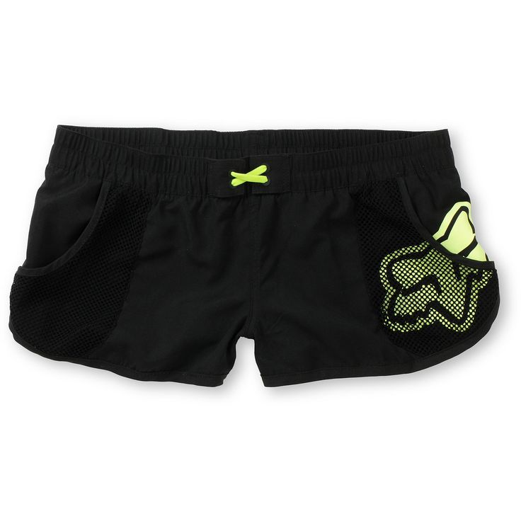 Fox Girls Vented Black & Neon Yellow Board Shorts
