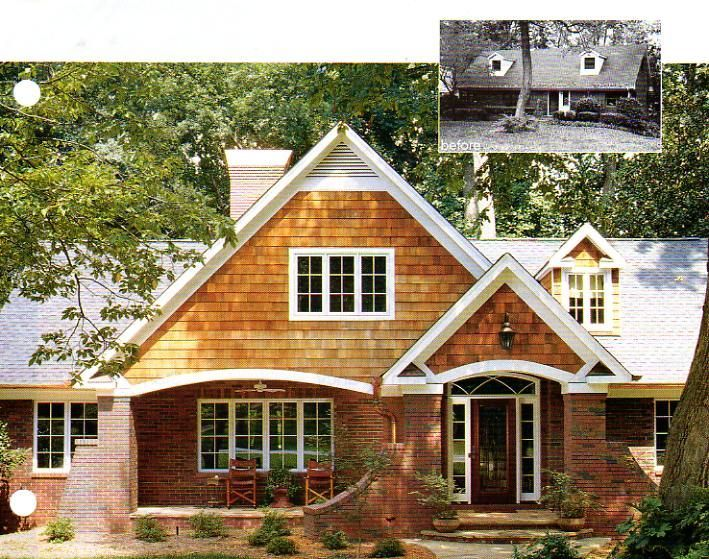 Ranch house remodel before and after before and after for Brick ranch home additions