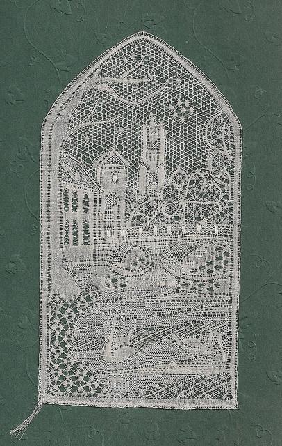 """Minnewater. Designed by Annemarie Verbeke and Anny Noben-Slegers. From """"Lieflijk Brugge"""""""