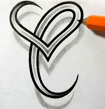Letter A Tattoo Designs With Heart