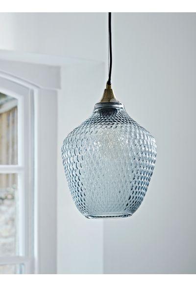 Embossed Glass Pendant - Grey - Lighting