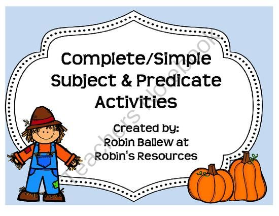 October Giveaway - Win a copy of my newest item: Complete and Simple Subject and Predicate activities. Written with a controlled vocabulary, struggling readers can focus on practicing the skill without the added effort of trying to decode and comprehend above their reading level..  A GIVEAWAY promotion for Fall themed Complete/Simple Subject & Complete/Simple Predicate from Robin's Resources on TeachersNotebook.com (ends on 10-13-2013)