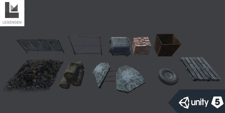 This package included: Modular walls, debris, barriers, pipes, buildings, electrical boxes and more. This package allows you to build a scene of an abandoned factory.
