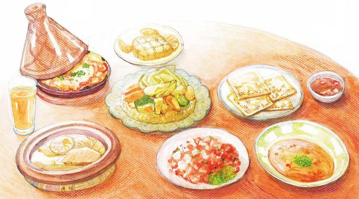 """モロッコ料理というと、とんがり帽子のような鍋蓋が特徴的な""""タジン""""を思い浮かべる人が多いだろう。確かにこの煮込み料理はモロッコ料理の代名詞で、ベジタブル、ビーフ、チキン、ケフタ(挽肉)……などメニューは幅広い。 他にも様々な料理があるが、どれもスパイスが程良く効いていておいしいものばかり。日本人の舌にも合うのは、全体的にヘルシーで味も複雑で洗練されているからだろう。最近では国内でもモロッコ料..."""