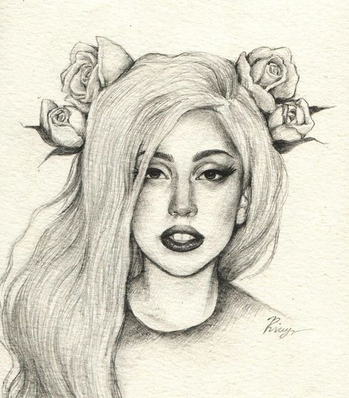 Line Drawing Lady : Tumblr drawings lady gaga drawing on