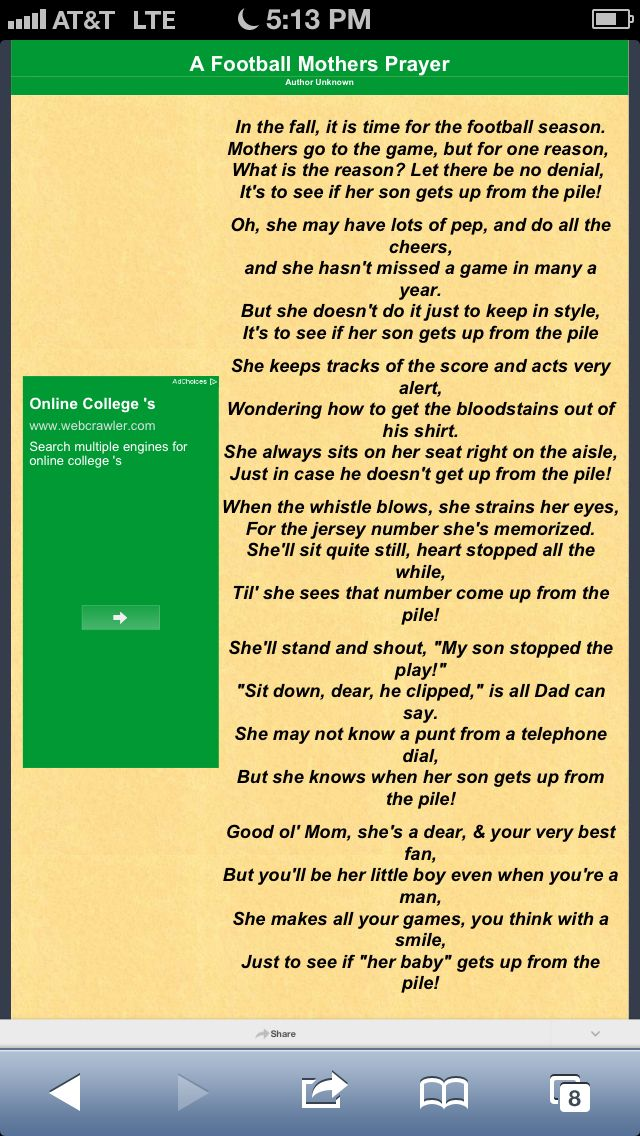 Football Moms Prayer Author unknown..always there for my boys to cheer them on.  As well as to cheer on the whole team!