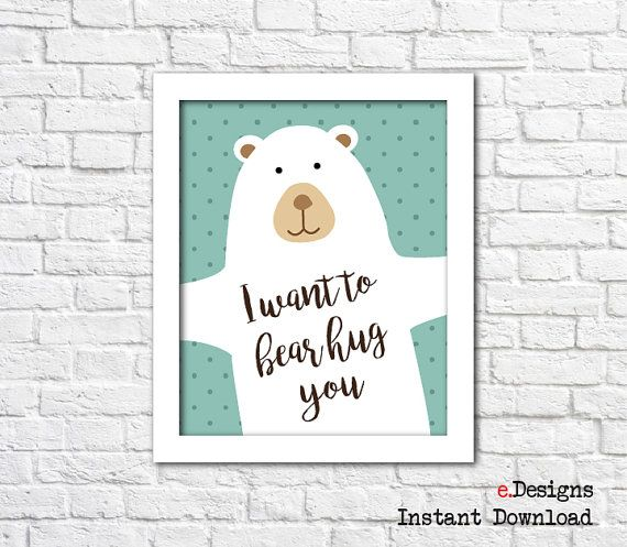 Printable Nursery Wall Art Bear Wall Art Bear Hug by eDesignss